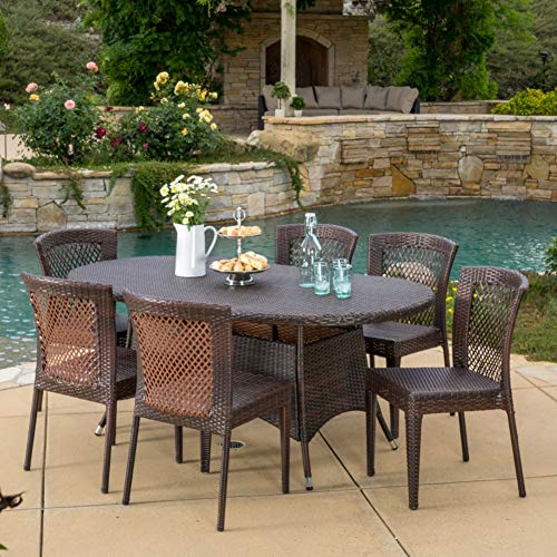 Christopher Knight Home Lennox Outdoor Wicker Round Dining Set 7 Pcs Set Multibrown 0 0