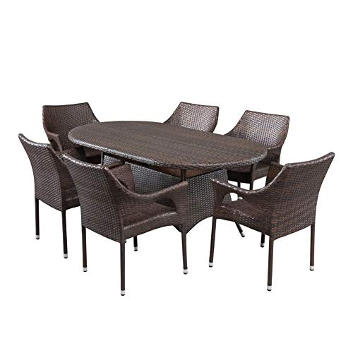 Christopher Knight Home Lennox Outdoor Wicker Round Dining Set 7 Pcs Set Multibrown 0