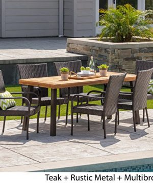 Christopher Knight Home Leopold Outdoor 7 Piece Acacia WoodWicker Dining Set With Teak Finish In Multibrown Rustic Metal 0 0 300x360