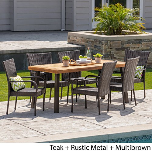 Christopher Knight Home Leopold Outdoor 7 Piece Acacia WoodWicker Dining Set With Teak Finish In Multibrown Rustic Metal 0 0