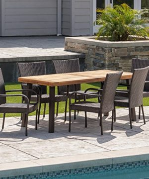 Christopher Knight Home Leopold Outdoor 7 Piece Acacia WoodWicker Dining Set With Teak Finish In Multibrown Rustic Metal 0 1 300x360