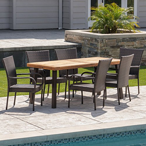 Christopher Knight Home Leopold Outdoor 7 Piece Acacia WoodWicker Dining Set With Teak Finish In Multibrown Rustic Metal 0 1