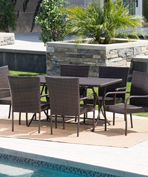 Christopher Knight Home Nina Outdoor 7 Piece Multi Brown Wicker Dining Set With Foldable Table And Stacking Chairs 0 0 300x360