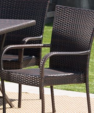 Christopher Knight Home Nina Outdoor 7 Piece Multi Brown Wicker Dining Set With Foldable Table And Stacking Chairs 0 1 300x360