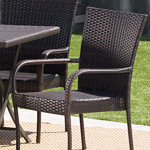 Christopher Knight Home Nina Outdoor 7 Piece Multi Brown Wicker Dining Set With Foldable Table And Stacking Chairs 0 1