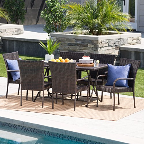 Christopher Knight Home Nina Outdoor 7 Piece Multi Brown Wicker Dining Set With Foldable Table And Stacking Chairs 0