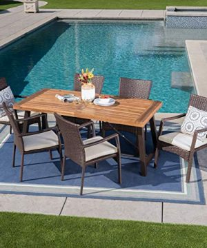 Christopher Knight Home Playa Outdoor 7 Piece WoodWicker Dining Set With Water Resistant Cushions In BrownTeak FinishCream 0 0 300x360