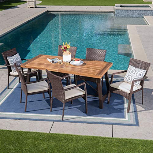 Christopher Knight Home Playa Outdoor 7 Piece WoodWicker Dining Set With Water Resistant Cushions In BrownTeak FinishCream 0 0