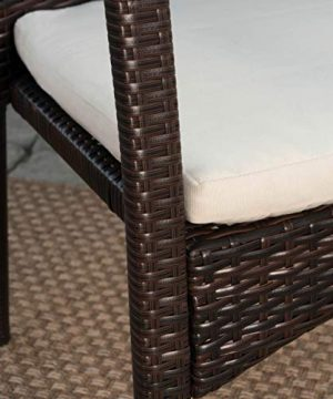 Christopher Knight Home Playa Outdoor 7 Piece WoodWicker Dining Set With Water Resistant Cushions In BrownTeak FinishCream 0 3 300x360