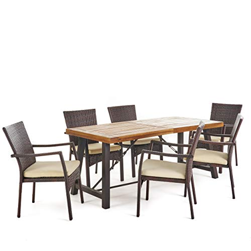 Christopher Knight Home Playa Outdoor 7 Piece WoodWicker Dining Set With Water Resistant Cushions In BrownTeak FinishCream 0