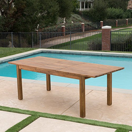 Christopher Knight Home William Outdoor 7 Piece Teak Finished Acacia Wood Dining Set With Expandable Dining Table 0 0
