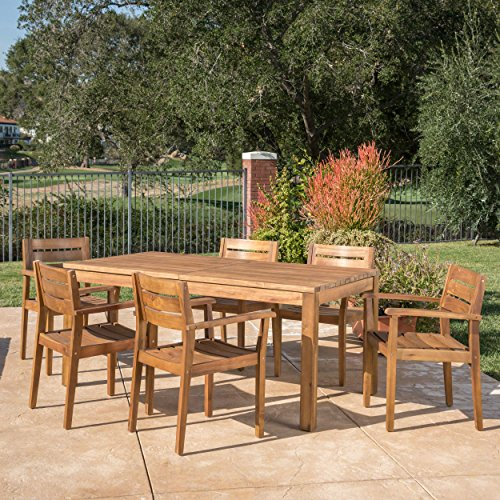 Christopher Knight Home William Outdoor 7 Piece Teak Finished Acacia Wood Dining Set With Expandable Dining Table 0