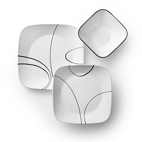 Corelle Service For 6 Chip Resistant Simple Lines Dinnerware Set 18 Piece 0 0