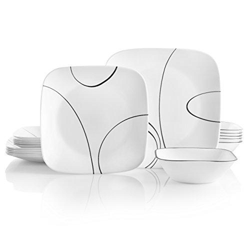 Corelle Service For 6 Chip Resistant Simple Lines Dinnerware Set 18 Piece 0
