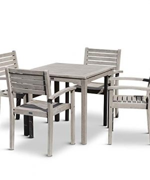 DTY Outdoor Living Leadville Square 5 Piece Eucalyptus Dining Set Driftwood Gray Finish 0 0 300x360