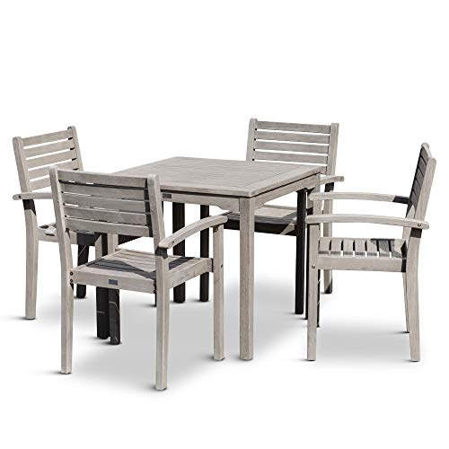 DTY Outdoor Living Leadville Square 5 Piece Eucalyptus Dining Set Driftwood Gray Finish 0 0