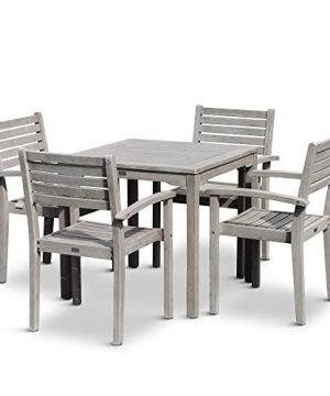 DTY Outdoor Living Leadville Square 5 Piece Eucalyptus Dining Set Driftwood Gray Finish 0 1 300x360
