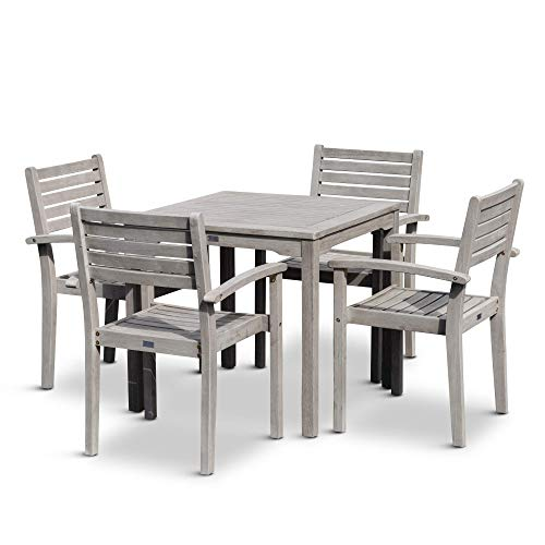 DTY Outdoor Living Leadville Square 5 Piece Eucalyptus Dining Set Driftwood Gray Finish 0 1