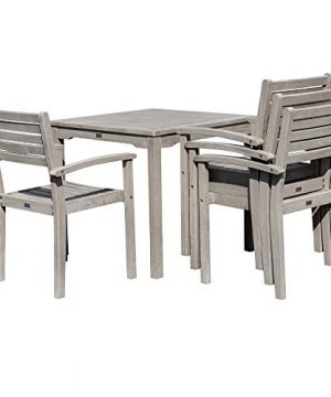 DTY Outdoor Living Leadville Square 5 Piece Eucalyptus Dining Set Driftwood Gray Finish 0 2 300x360