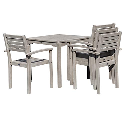 DTY Outdoor Living Leadville Square 5 Piece Eucalyptus Dining Set Driftwood Gray Finish 0 2
