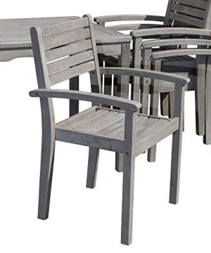 DTY Outdoor Living Leadville Square 5 Piece Eucalyptus Dining Set Driftwood Gray Finish 0 3 300x360