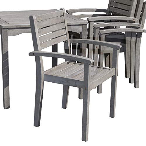 DTY Outdoor Living Leadville Square 5 Piece Eucalyptus Dining Set Driftwood Gray Finish 0 3
