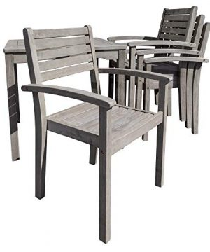 DTY Outdoor Living Leadville Square 5 Piece Eucalyptus Dining Set Driftwood Gray Finish 0 4 300x360