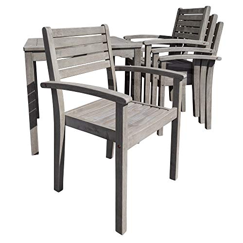 DTY Outdoor Living Leadville Square 5 Piece Eucalyptus Dining Set Driftwood Gray Finish 0 4