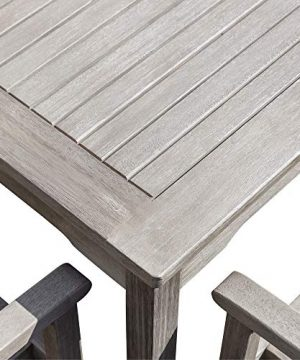 DTY Outdoor Living Leadville Square 5 Piece Eucalyptus Dining Set Driftwood Gray Finish 0 5 300x360