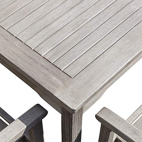 DTY Outdoor Living Leadville Square 5 Piece Eucalyptus Dining Set Driftwood Gray Finish 0 5