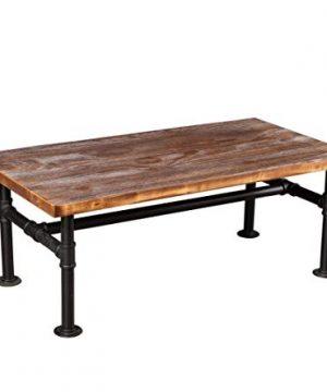 Diwhy DIY Industrial Design Pipe Modern Studio Metal And Wood Rectangular Coffee Table Low Homeoffice Desk Tea Table Black 177 H 0 300x360