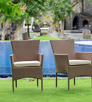 East West Furniture JUBK502A 5Pc Outdoor Brown Wicker Dining Set Includes A Patio Table And 4 Balcony Backyard Armchair With Linen Fabric Cushion 0 1 300x333