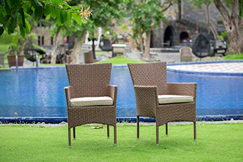 East West Furniture JUBK502A 5Pc Outdoor Brown Wicker Dining Set Includes A Patio Table And 4 Balcony Backyard Armchair With Linen Fabric Cushion 0 1