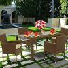 East West Furniture JUBK502A 5Pc Outdoor Brown Wicker Dining Set Includes A Patio Table And 4 Balcony Backyard Armchair With Linen Fabric Cushion 0 100x100
