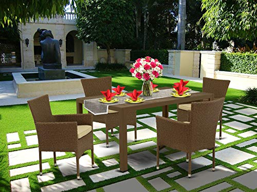 East West Furniture JUBK502A 5Pc Outdoor Brown Wicker Dining Set Includes A Patio Table And 4 Balcony Backyard Armchair With Linen Fabric Cushion 0