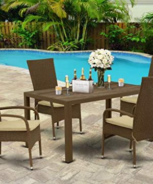 East West Furniture JUOS502A 5Pc Outdoor Brown Wicker Dining Set Includes A Patio Table And 4 Balcony Backyard Armchair With Linen Fabric Cushion 0 300x360