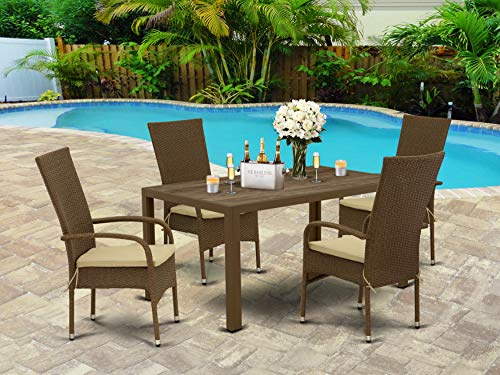 East West Furniture JUOS502A 5Pc Outdoor Brown Wicker Dining Set Includes A Patio Table And 4 Balcony Backyard Armchair With Linen Fabric Cushion 0