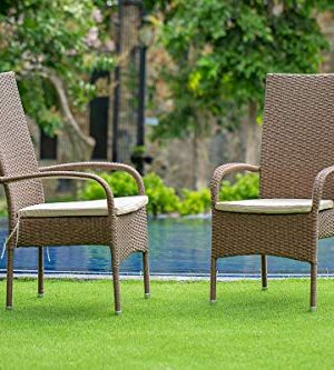 East West Furniture OSOS702A 7Pc Outdoor Brown Wicker Dining Set Includes A Patio Table And 6 Balcony Backyard Armchair With Linen Fabric Cushion 0 1 300x333
