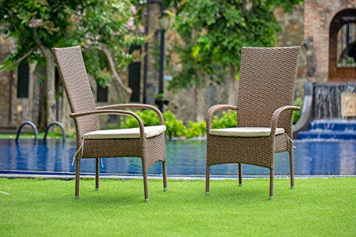 East West Furniture OSOS702A 7Pc Outdoor Brown Wicker Dining Set Includes A Patio Table And 6 Balcony Backyard Armchair With Linen Fabric Cushion 0 1