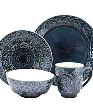 Elama Decorated Round Stoneware Deep Embossed Dinnerware Dish Set 16 Piece Dark Navy Blue 0 0 300x360