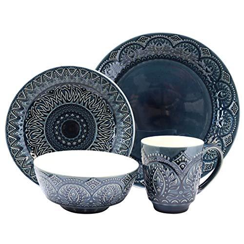 Elama Decorated Round Stoneware Deep Embossed Dinnerware Dish Set 16 Piece Dark Navy Blue 0 0