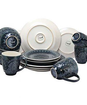 Elama Decorated Round Stoneware Deep Embossed Dinnerware Dish Set 16 Piece Dark Navy Blue 0 1 300x360