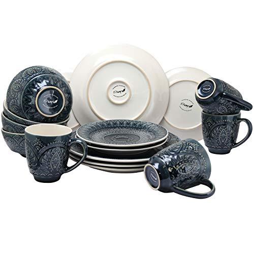 Elama Decorated Round Stoneware Deep Embossed Dinnerware Dish Set 16 Piece Dark Navy Blue 0 1