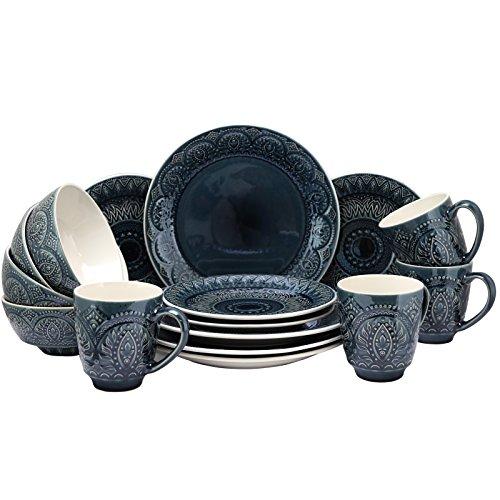 Elama Decorated Round Stoneware Deep Embossed Dinnerware Dish Set 16 Piece Dark Navy Blue 0