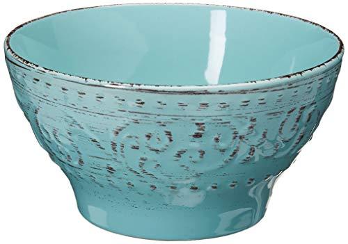 Elama Embossed Stoneware Ocean Dinnerware Dish Set 16 Piece Turquoise 0 1