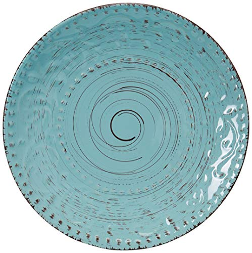 Elama Embossed Stoneware Ocean Dinnerware Dish Set 16 Piece Turquoise 0 2