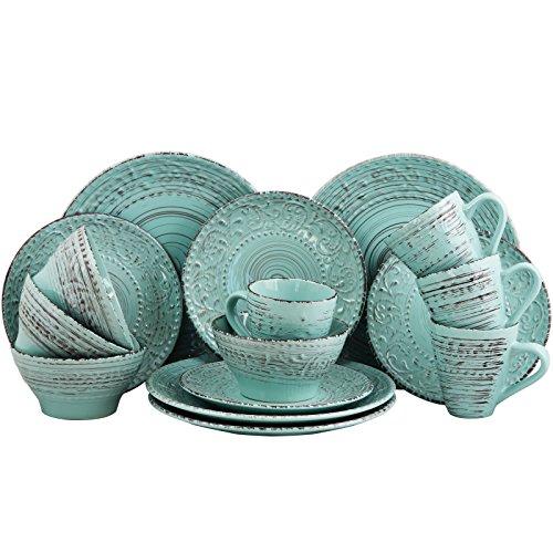Elama Embossed Stoneware Ocean Dinnerware Dish Set 16 Piece Turquoise 0