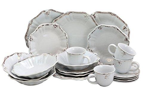 Elama Scalloped Round Stoneware Elegant Dinnerware Dish Set 20 Piece White 0 0