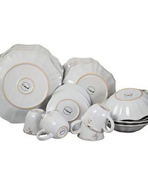 Elama Scalloped Round Stoneware Elegant Dinnerware Dish Set 20 Piece White 0 1 300x360