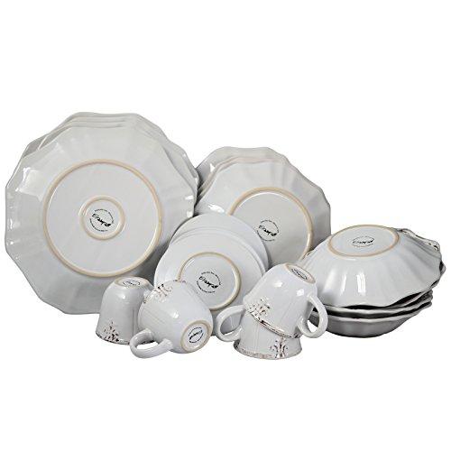 Elama Scalloped Round Stoneware Elegant Dinnerware Dish Set 20 Piece White 0 1